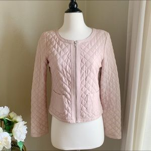 Hinge Powder Pink Quilted Leather Jacket